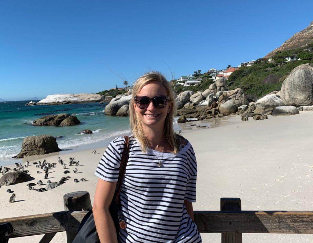 Gemma Exploring Blouders Beach before Two Oceans Marathon