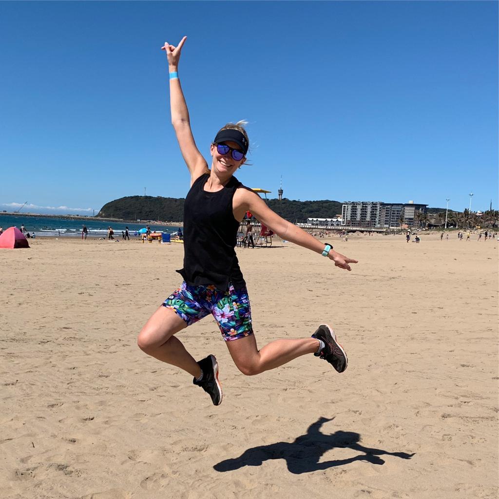 Gemma doing one of her favourite beach runs